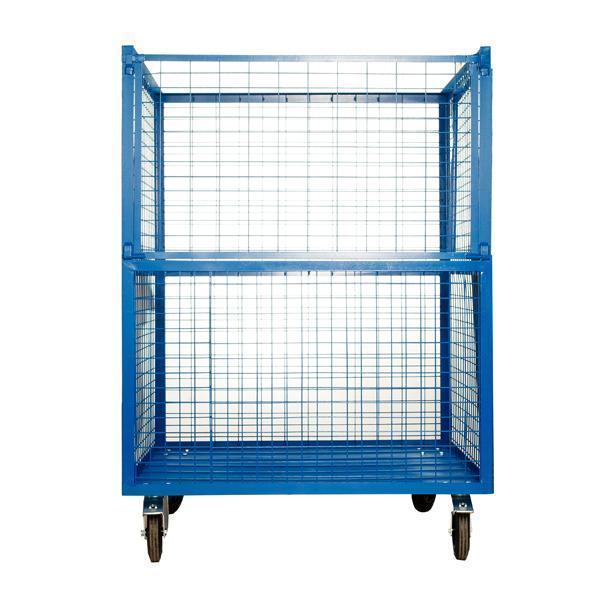 Metalowy niebieski pojemnik siatkowy